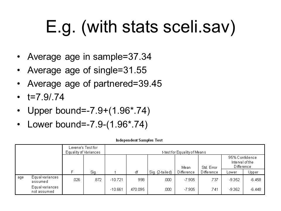 E.g. (with stats sceli.sav) Average age in sample=37.34 Average age of single=31.55 Average age of partnered=39.45 t=7.9/.74 Upper bound=-7.9+(1.96*.7