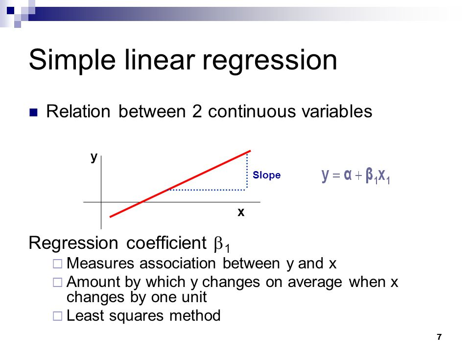 8 Multiple linear regression Relation between a continuous variable and a set of i continuous variables Partial regression coefficients  i  Amount by which y changes on average when x i changes by one unit and all the other x i s remain constant  Measures association between x i and y adjusted for all other x i