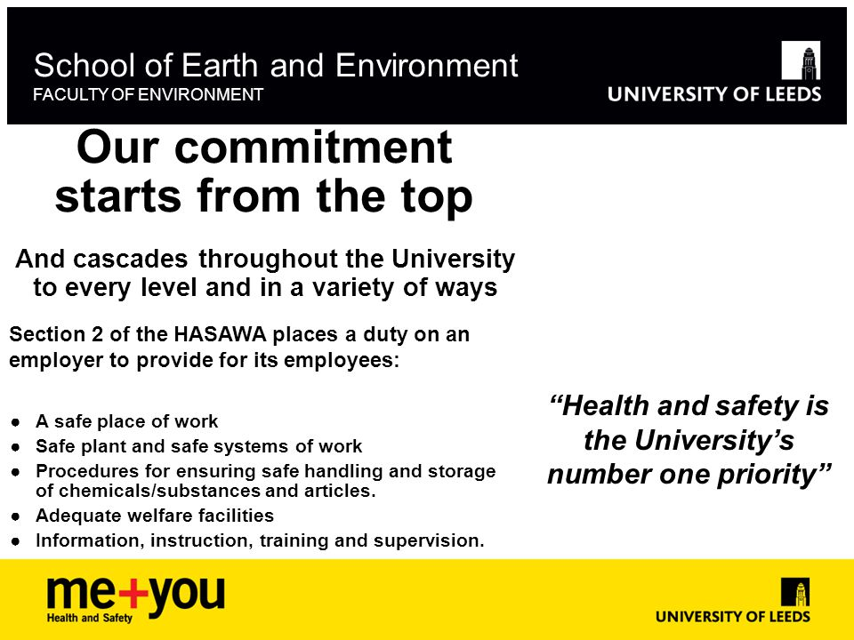 Our commitment starts from the top School of Earth and Environment FACULTY OF ENVIRONMENT And cascades throughout the University to every level and in a variety of ways ●A safe place of work ●Safe plant and safe systems of work ●Procedures for ensuring safe handling and storage of chemicals/substances and articles.