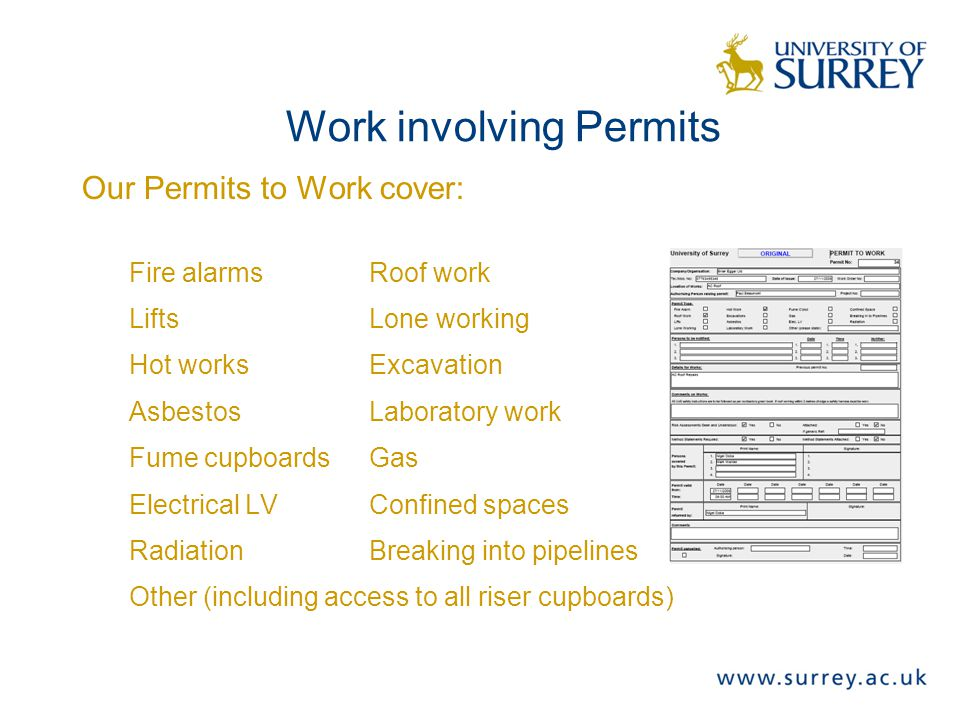 Work involving Permits Our Permits to Work cover: Fire alarmsRoof work LiftsLone working Hot worksExcavation AsbestosLaboratory work Fume cupboardsGas Electrical LVConfined spaces RadiationBreaking into pipelines Other (including access to all riser cupboards)