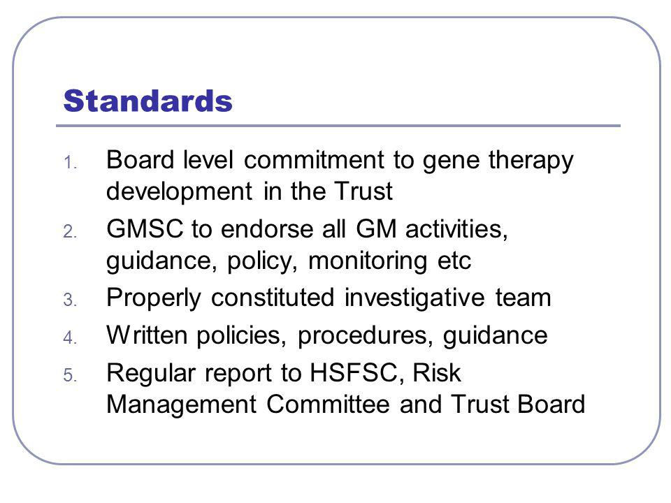 Standards 1. Board level commitment to gene therapy development in the Trust 2.