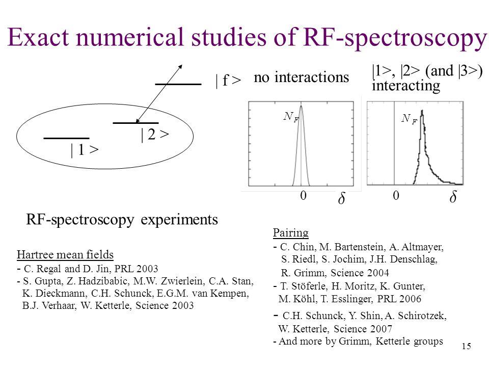 15 Exact numerical studies of RF-spectroscopy | 1 > | 2 > | f > Hartree mean fields - C.