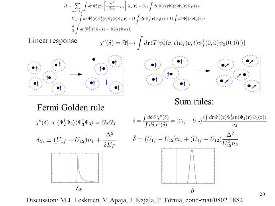 20 Linear response Discussion: M.J. Leskinen, V. Apaja, J.