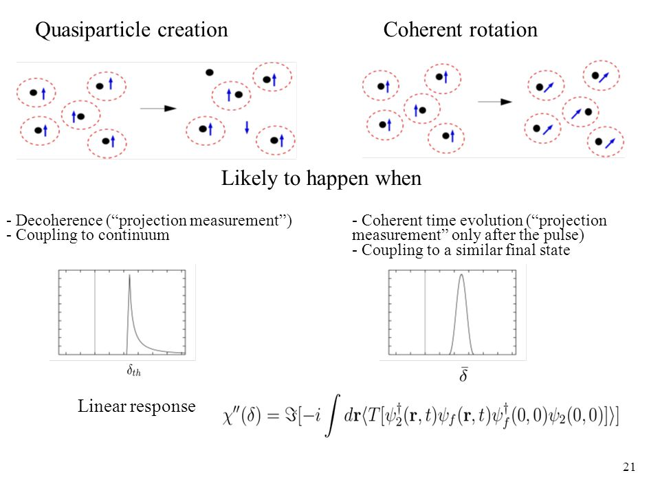 21 Quasiparticle creationCoherent rotation Likely to happen when - Decoherence ( projection measurement ) - Coupling to continuum - Coherent time evolution ( projection measurement only after the pulse) - Coupling to a similar final state Linear response