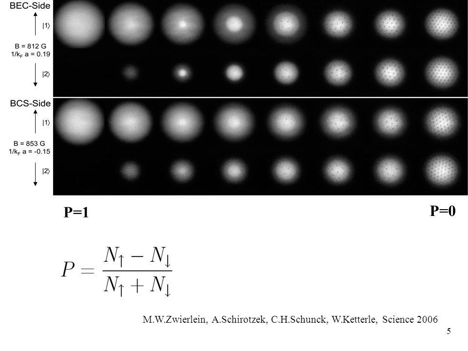 5 P=0 P=1 M.W.Zwierlein, A.Schirotzek, C.H.Schunck, W.Ketterle, Science 2006