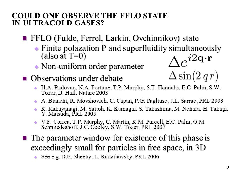 9 FFLO features for a trapped gas: interface effect c.f.