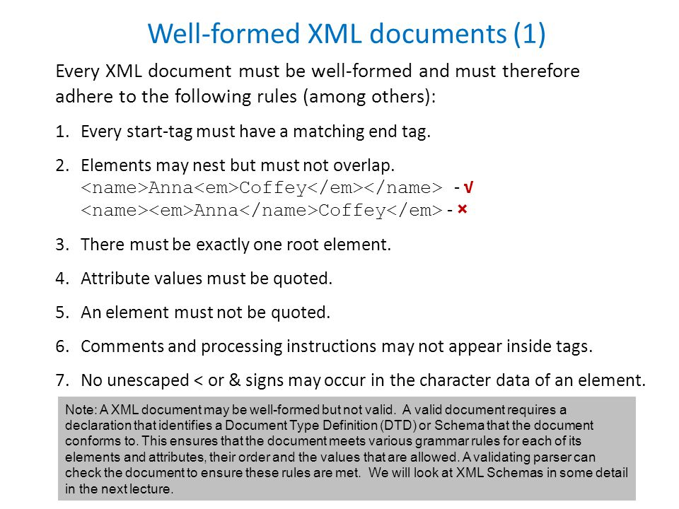 Well-formed XML documents (1) Every XML document must be well-formed and must therefore adhere to the following rules (among others): 1.Every start-tag must have a matching end tag.