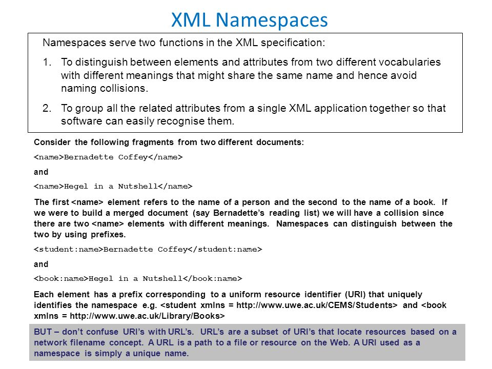 XML Namespaces Namespaces serve two functions in the XML specification: 1.To distinguish between elements and attributes from two different vocabularies with different meanings that might share the same name and hence avoid naming collisions.