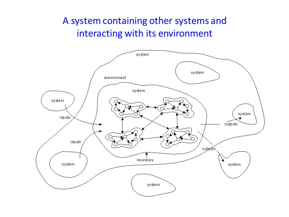 A system containing other systems and interacting with its environment
