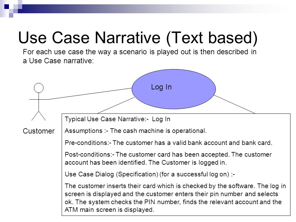 Use Case Narrative (Text based) Log In Typical Use Case Narrative:- Log In Assumptions :- The cash machine is operational.
