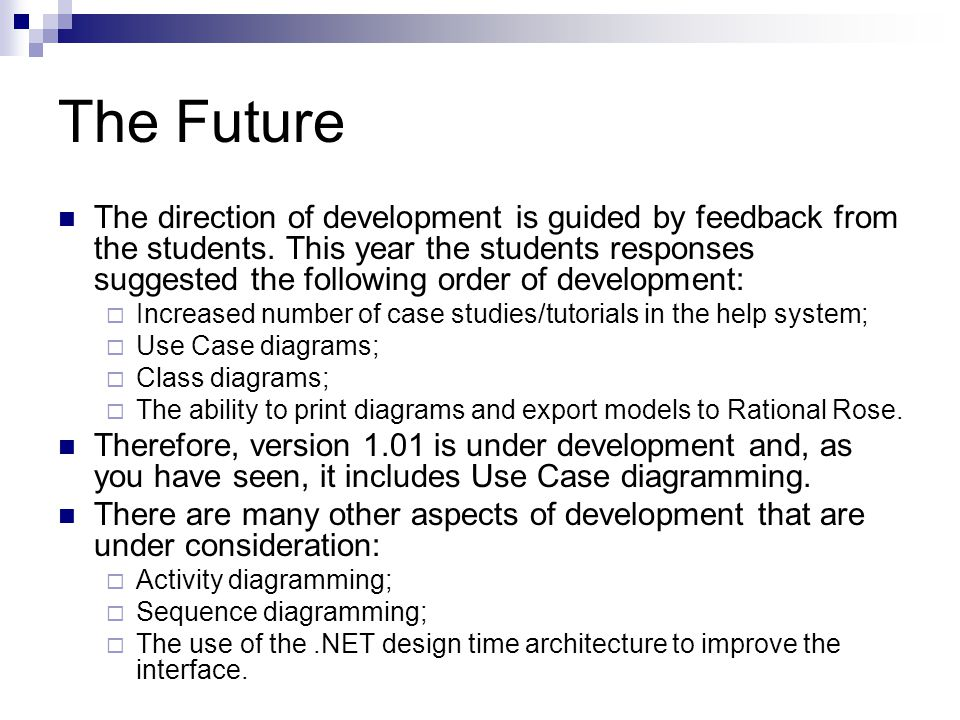 The Future The direction of development is guided by feedback from the students.