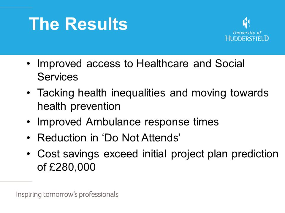 The Results Improved access to Healthcare and Social Services Tacking health inequalities and moving towards health prevention Improved Ambulance response times Reduction in 'Do Not Attends' Cost savings exceed initial project plan prediction of £280,000