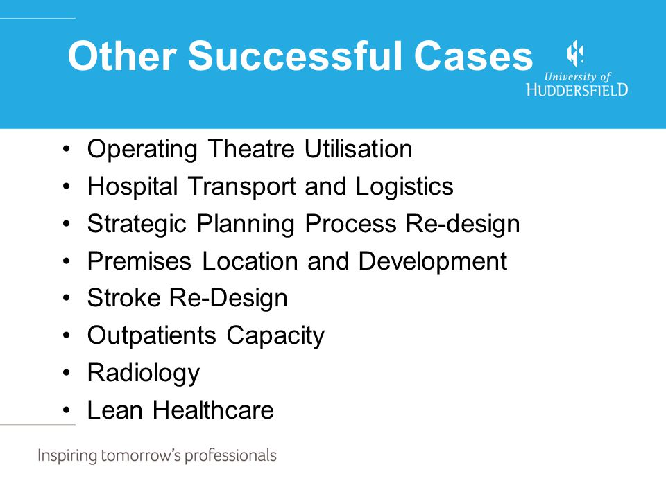 Other Successful Cases Operating Theatre Utilisation Hospital Transport and Logistics Strategic Planning Process Re-design Premises Location and Development Stroke Re-Design Outpatients Capacity Radiology Lean Healthcare