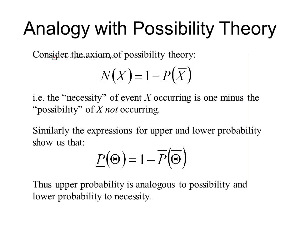 Analogy with Possibility Theory Thus upper probability is analogous to possibility and lower probability to necessity.