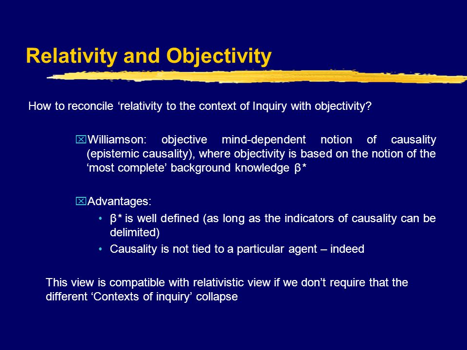 Relativity and Objectivity How to reconcile 'relativity to the context of Inquiry with objectivity.