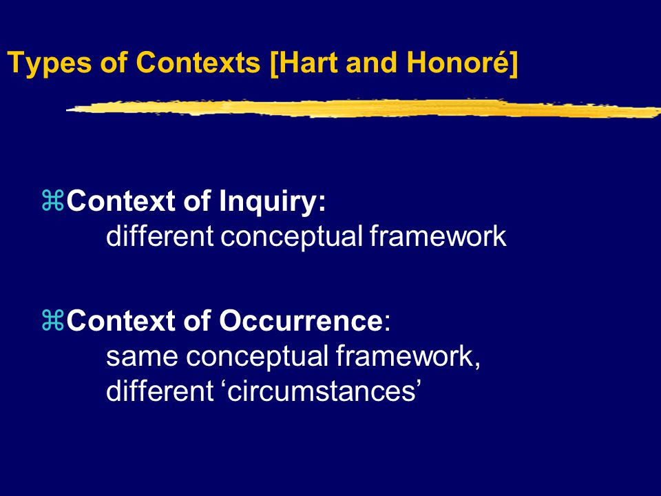 Types of Contexts [Hart and Honoré]  Context of Inquiry: different conceptual framework  Context of Occurrence: same conceptual framework, different 'circumstances'