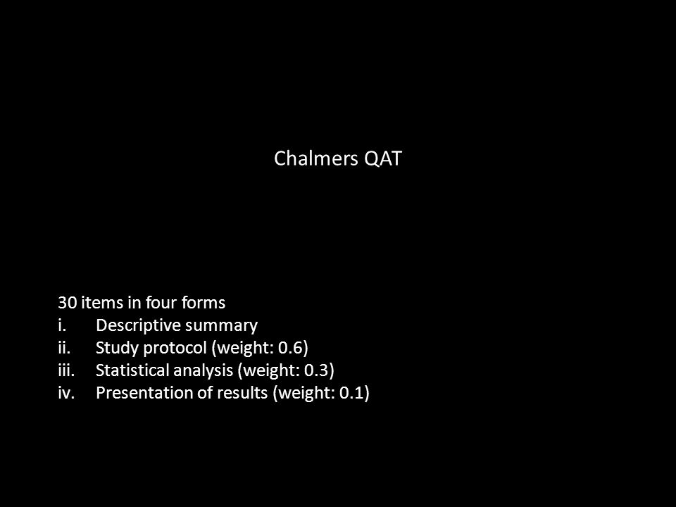 Chalmers QAT 30 items in four forms i.Descriptive summary ii.Study protocol (weight: 0.6) iii.Statistical analysis (weight: 0.3) iv.Presentation of results (weight: 0.1)