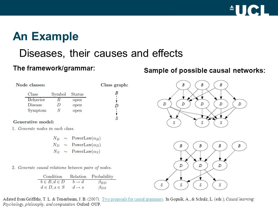 An Example Diseases, their causes and effects The framework/grammar: Sample of possible causal networks: Adated from Griffiths, T.
