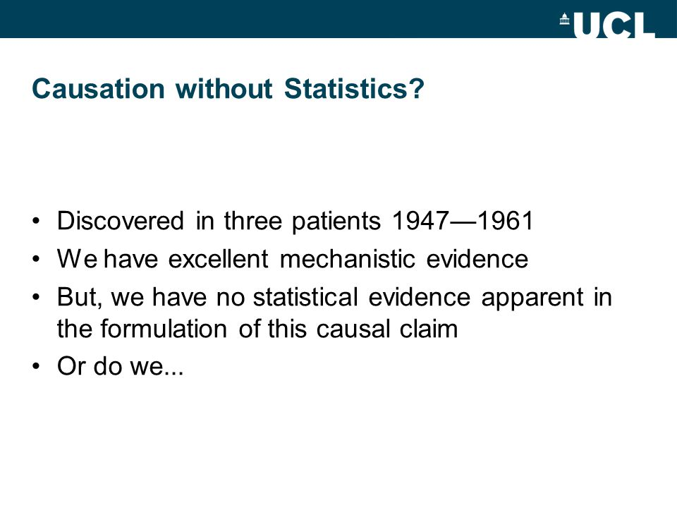 Causation without Statistics.