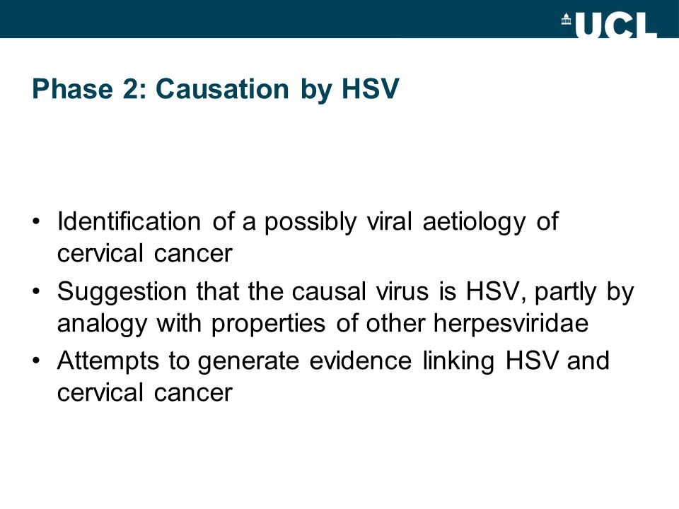 Phase 2: Causation by HSV Identification of a possibly viral aetiology of cervical cancer Suggestion that the causal virus is HSV, partly by analogy w