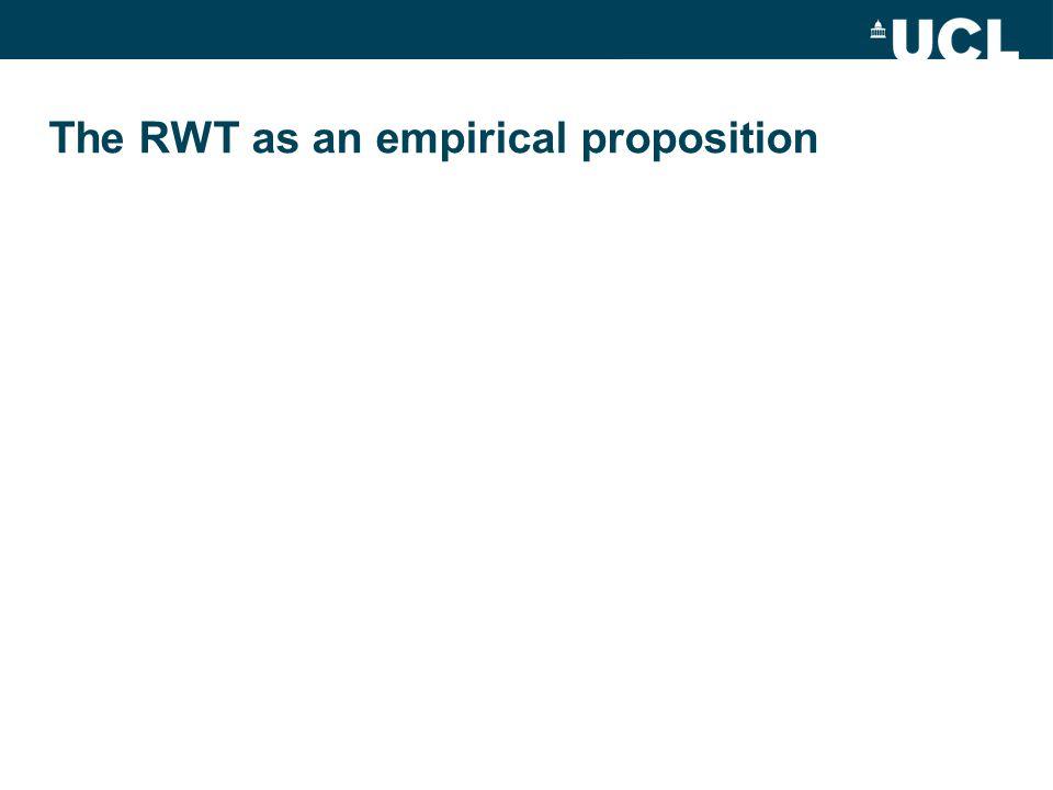 The RWT as an empirical proposition