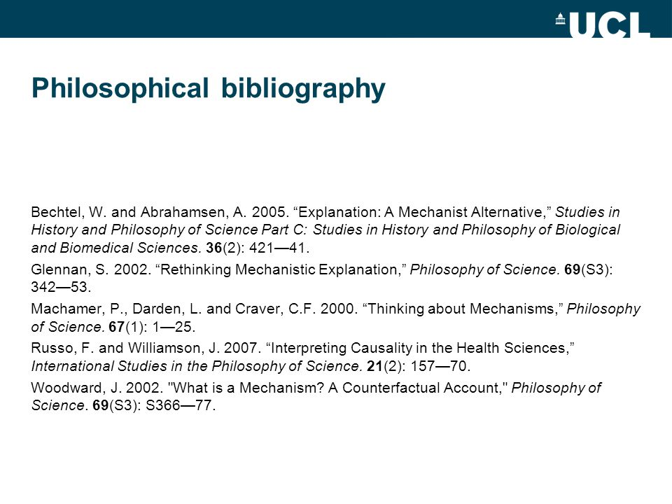 Philosophical bibliography Bechtel, W. and Abrahamsen, A.
