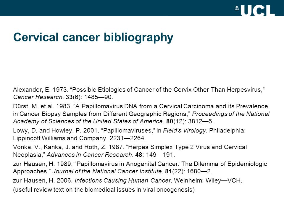 Cervical cancer bibliography Alexander, E. 1973.