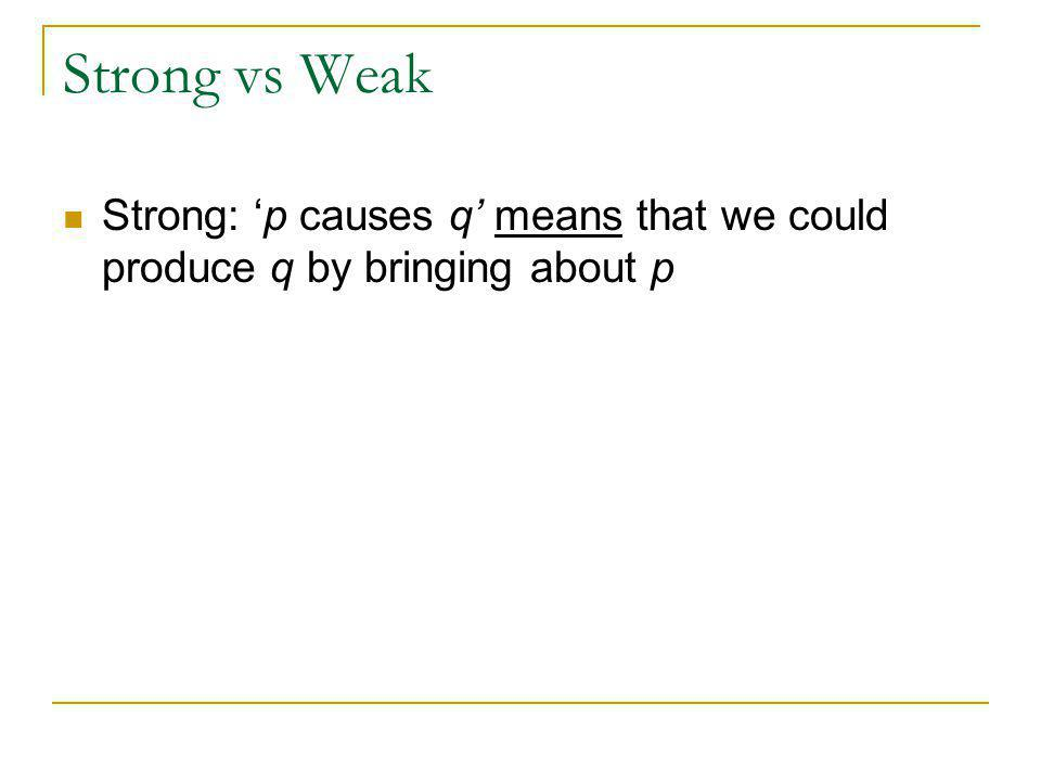 Strong: 'p causes q' means that we could produce q by bringing about p