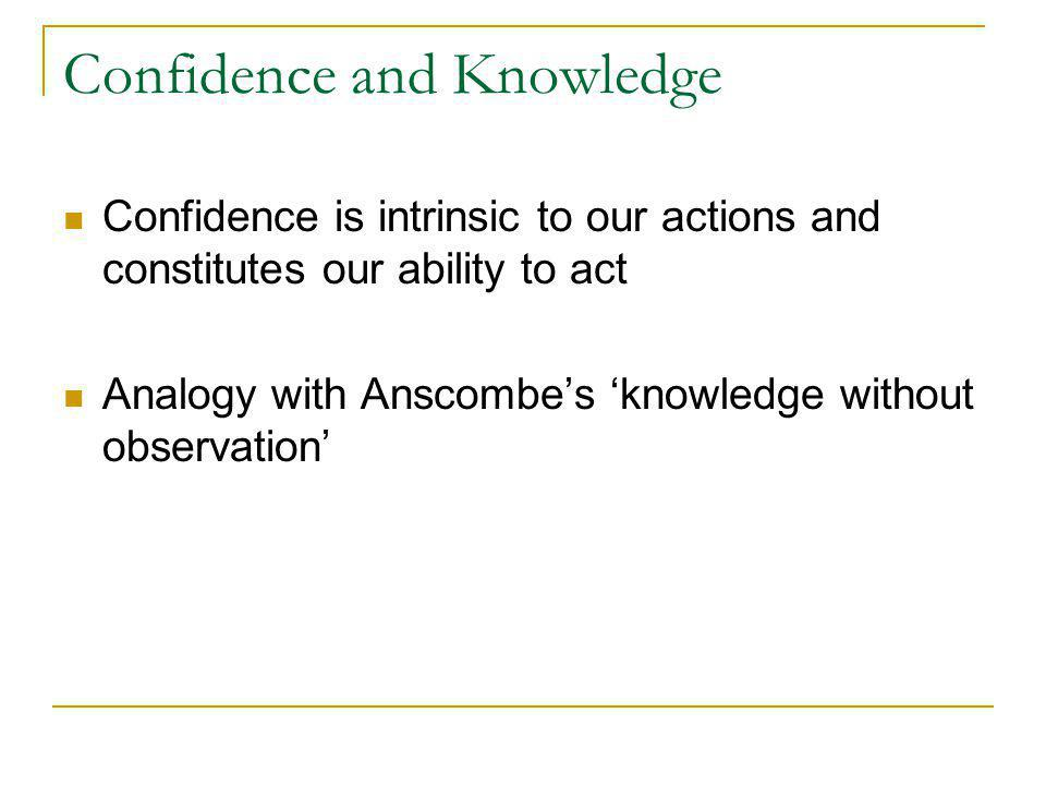 Confidence and Knowledge Confidence is intrinsic to our actions and constitutes our ability to act Analogy with Anscombe's 'knowledge without observation'