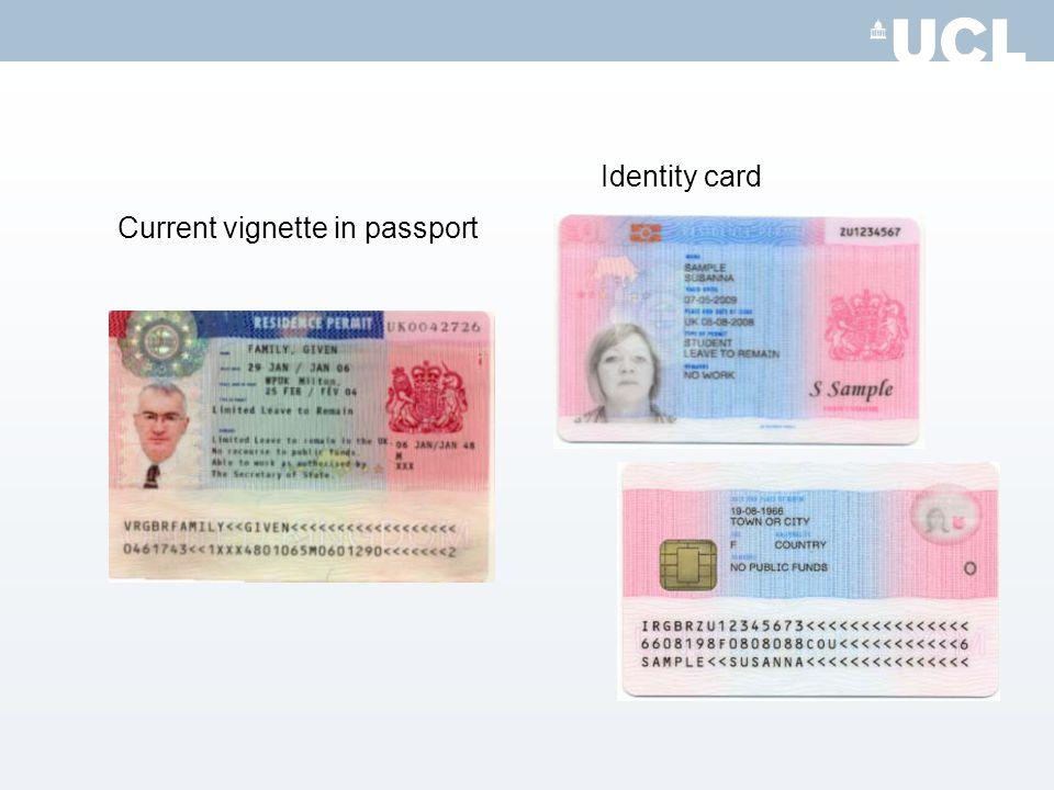 Current vignette in passport Identity card