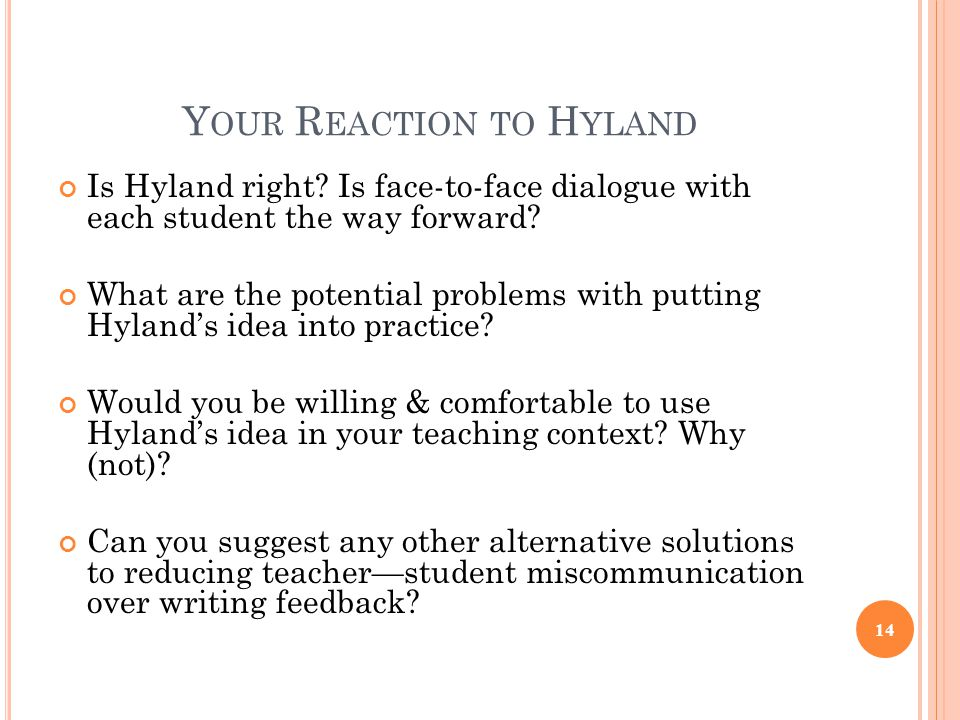 Y OUR R EACTION TO H YLAND Is Hyland right.