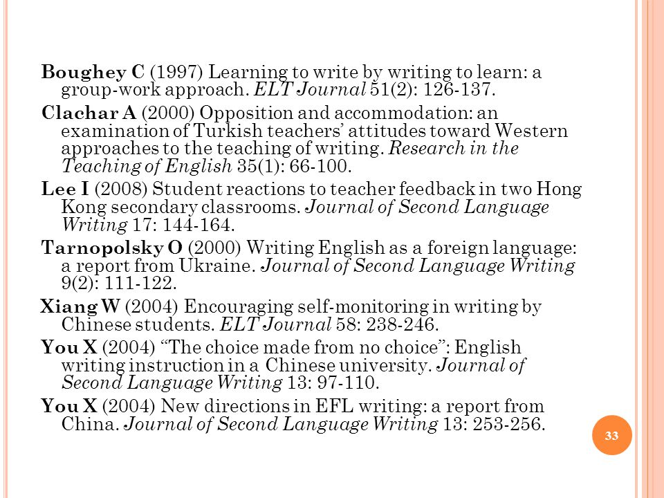 Boughey C (1997) Learning to write by writing to learn: a group-work approach.