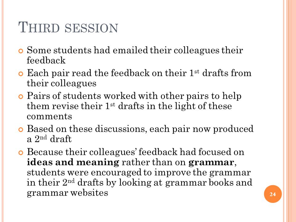 T HIRD SESSION Some students had emailed their colleagues their feedback Each pair read the feedback on their 1 st drafts from their colleagues Pairs of students worked with other pairs to help them revise their 1 st drafts in the light of these comments Based on these discussions, each pair now produced a 2 nd draft Because their colleagues' feedback had focused on ideas and meaning rather than on grammar, students were encouraged to improve the grammar in their 2 nd drafts by looking at grammar books and grammar websites 24