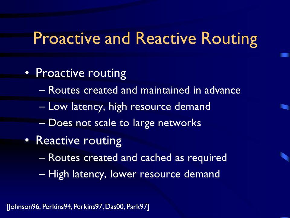 Proactive and Reactive Routing Proactive routing –Routes created and maintained in advance –Low latency, high resource demand –Does not scale to large networks Reactive routing –Routes created and cached as required –High latency, lower resource demand [Johnson96, Perkins94, Perkins97, Das00, Park97]