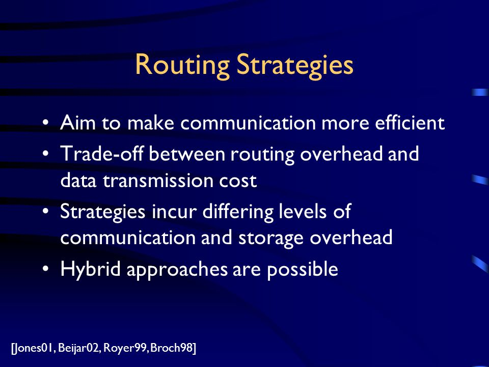 Routing Strategies Aim to make communication more efficient Trade-off between routing overhead and data transmission cost Strategies incur differing levels of communication and storage overhead Hybrid approaches are possible [Jones01, Beijar02, Royer99, Broch98]