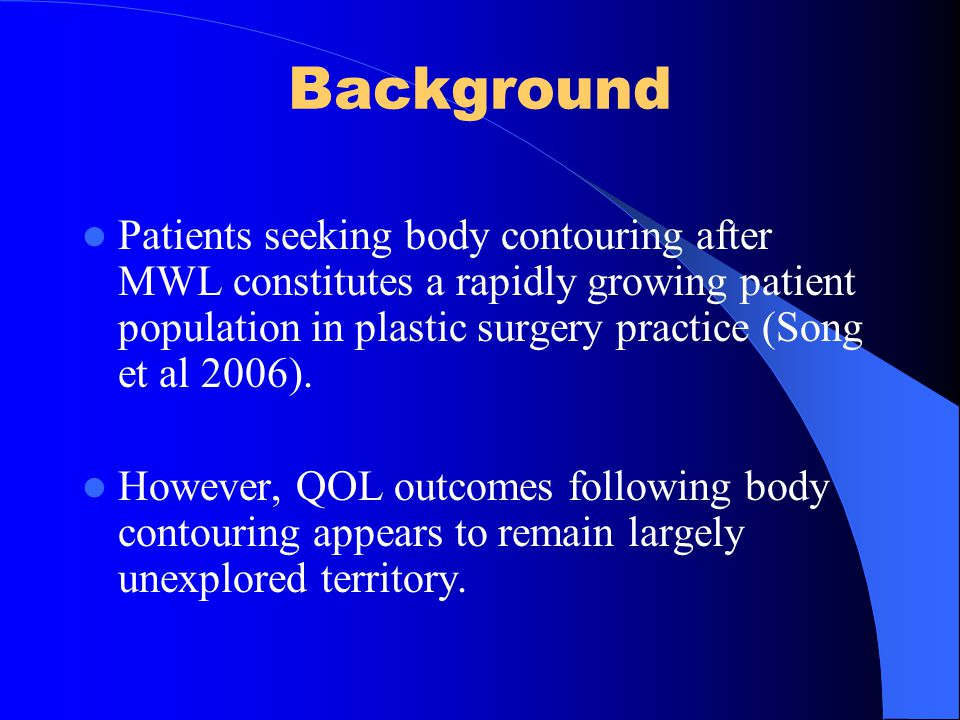 Literature Review Yielded 12 papers that met the inclusion criteria 7 studies reported that reconstructive surgery following MWL correlated with QoL in several areas (Migliori et al 2006, Song et al.