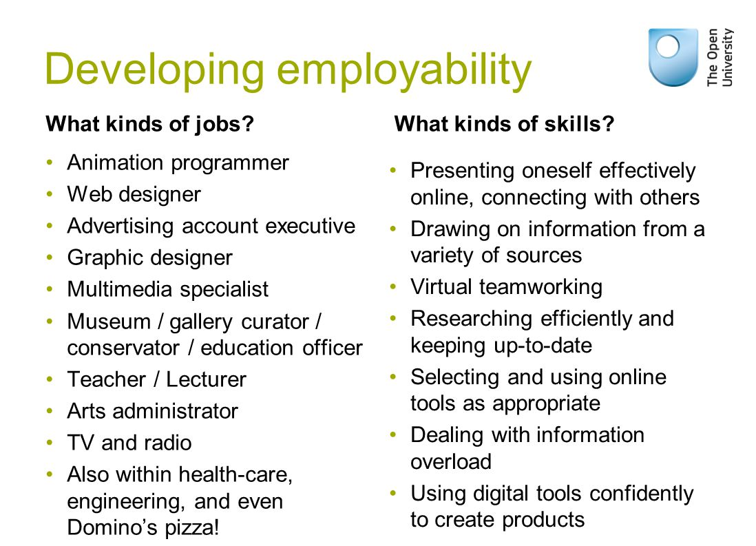 Developing employability What kinds of jobs? Animation programmer Web designer Advertising account executive Graphic designer Multimedia specialist Mu