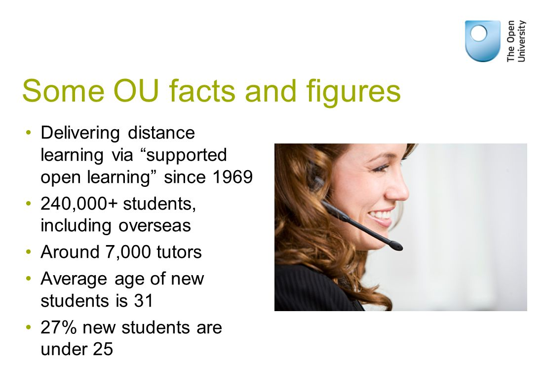 "Some OU facts and figures Delivering distance learning via ""supported open learning"" since 1969 240,000+ students, including overseas Around 7,000 tut"