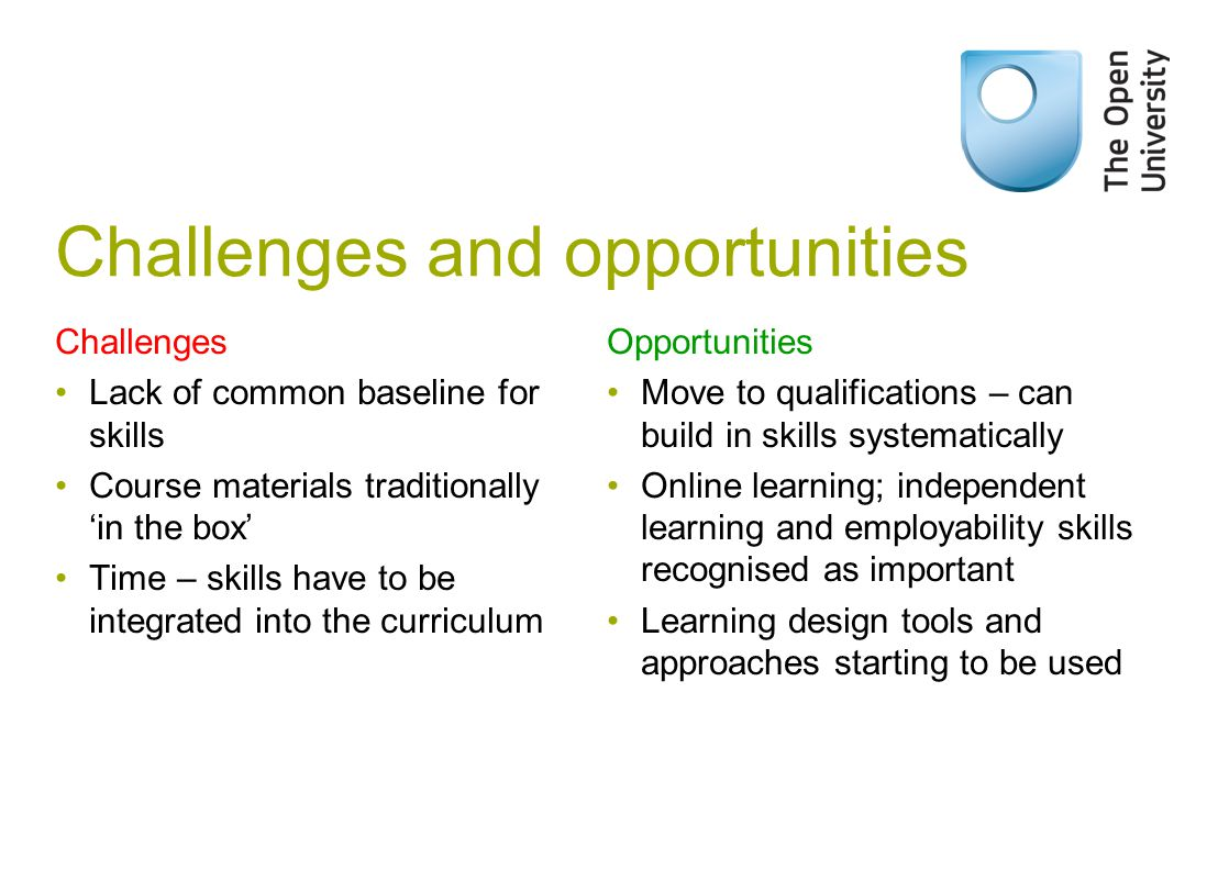Challenges and opportunities Challenges Lack of common baseline for skills Course materials traditionally 'in the box' Time – skills have to be integrated into the curriculum Opportunities Move to qualifications – can build in skills systematically Online learning; independent learning and employability skills recognised as important Learning design tools and approaches starting to be used