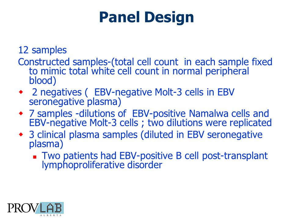 Panel Design 12 samples Constructed samples-(total cell count in each sample fixed to mimic total white cell count in normal peripheral blood)  2 negatives ( EBV-negative Molt-3 cells in EBV seronegative plasma)  7 samples -dilutions of EBV-positive Namalwa cells and EBV-negative Molt-3 cells ; two dilutions were replicated  3 clinical plasma samples (diluted in EBV seronegative plasma) Two patients had EBV-positive B cell post-transplant lymphoproliferative disorder