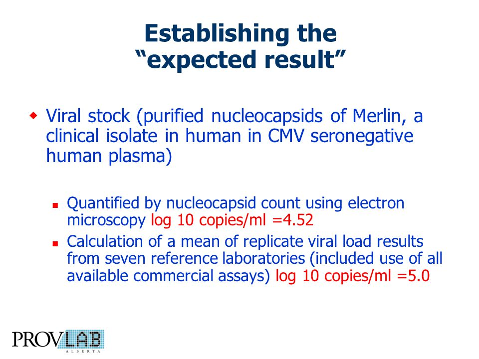 Establishing the expected result  Viral stock (purified nucleocapsids of Merlin, a clinical isolate in human in CMV seronegative human plasma) Quantified by nucleocapsid count using electron microscopy log 10 copies/ml =4.52 Calculation of a mean of replicate viral load results from seven reference laboratories (included use of all available commercial assays) log 10 copies/ml =5.0