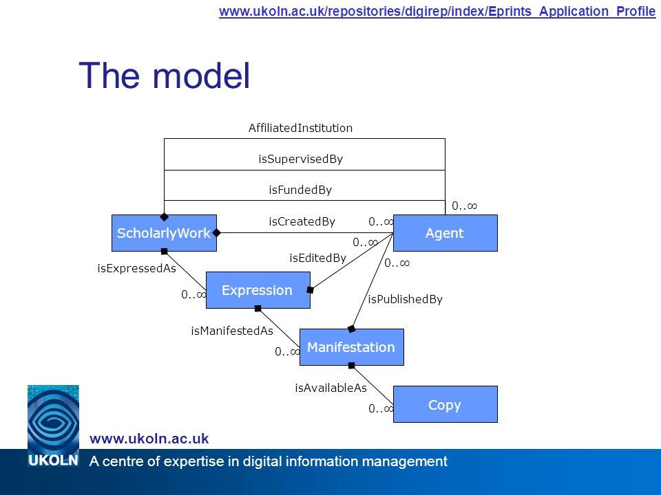 A centre of expertise in digital information management www.ukoln.ac.uk www.ukoln.ac.uk/repositories/digirep/index/Eprints_Application_Profile The model ScholarlyWork Expression 0..∞ isExpressedAs Manifestation isManifestedAs 0..∞ Copy isAvailableAs 0..∞ isPublishedBy 0..∞ isEditedBy 0..∞isCreatedBy 0..∞ isFundedBy isSupervisedBy AffiliatedInstitution Agent