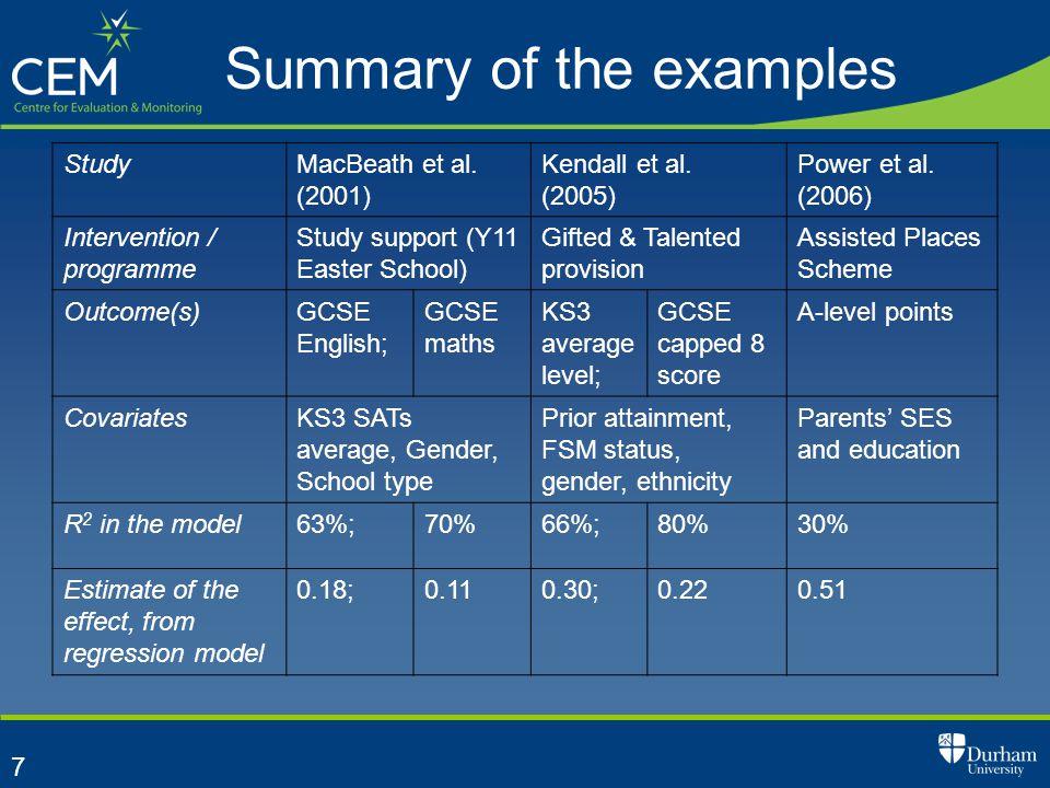 7 Summary of the examples StudyMacBeath et al. (2001) Kendall et al. (2005) Power et al. (2006) Intervention / programme Study support (Y11 Easter Sch