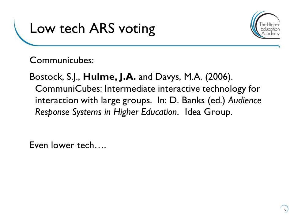 Communicubes: Bostock, S.J., Hulme, J.A. and Davys, M.A.