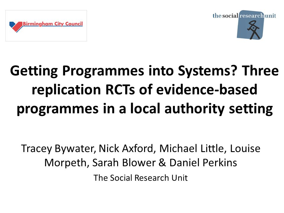 Getting Programmes into Systems.