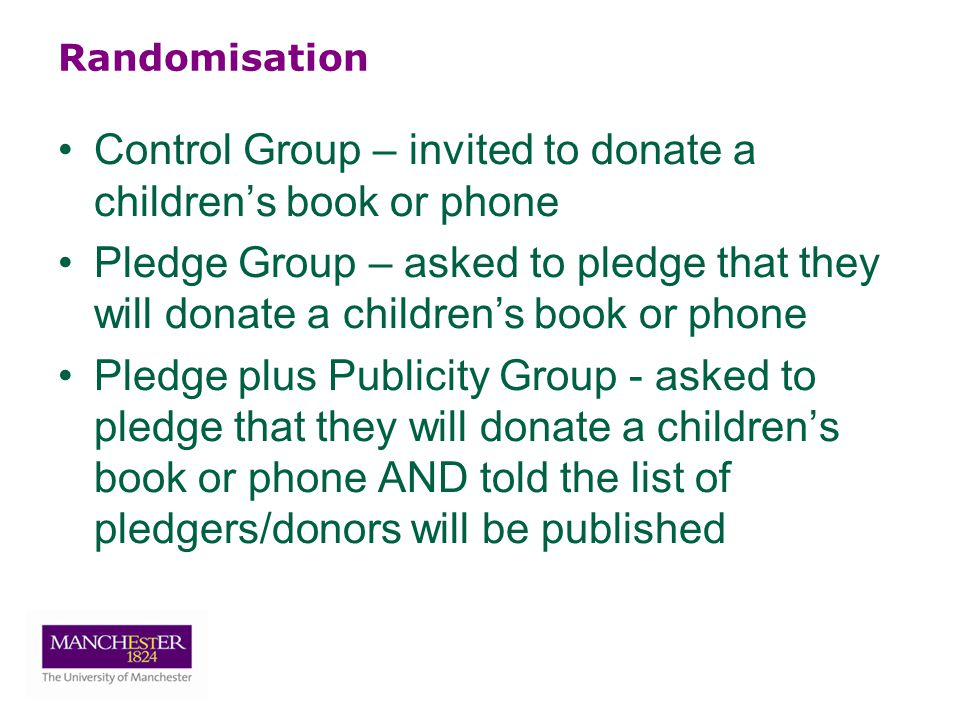 Randomisation Control Group – invited to donate a children's book or phone Pledge Group – asked to pledge that they will donate a children's book or phone Pledge plus Publicity Group - asked to pledge that they will donate a children's book or phone AND told the list of pledgers/donors will be published