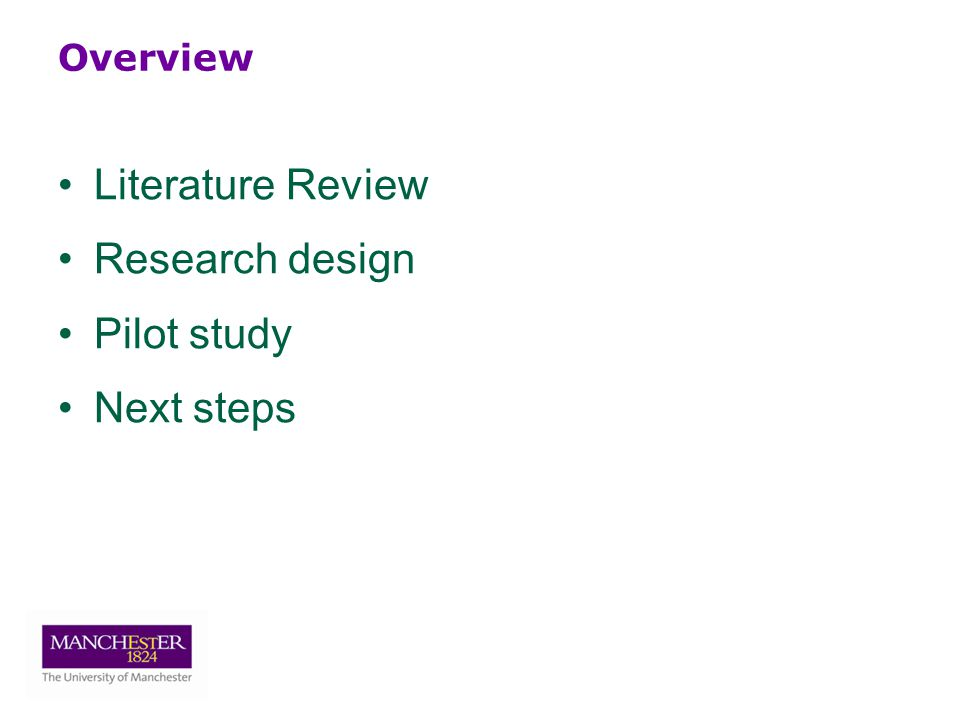 Overview Literature Review Research design Pilot study Next steps