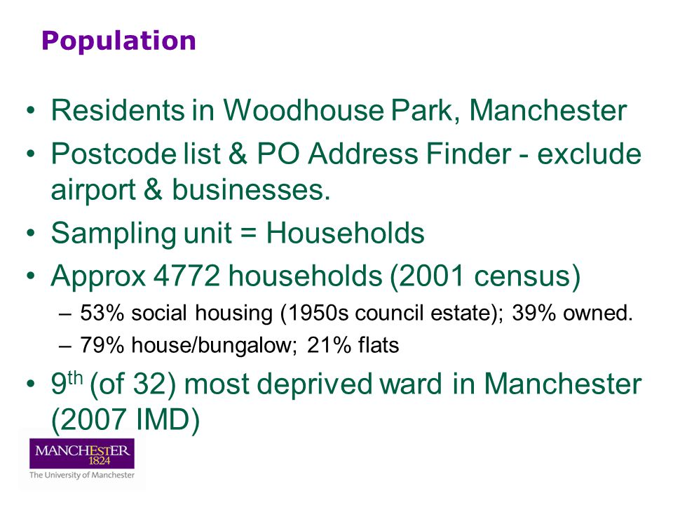 Population Residents in Woodhouse Park, Manchester Postcode list & PO Address Finder - exclude airport & businesses.