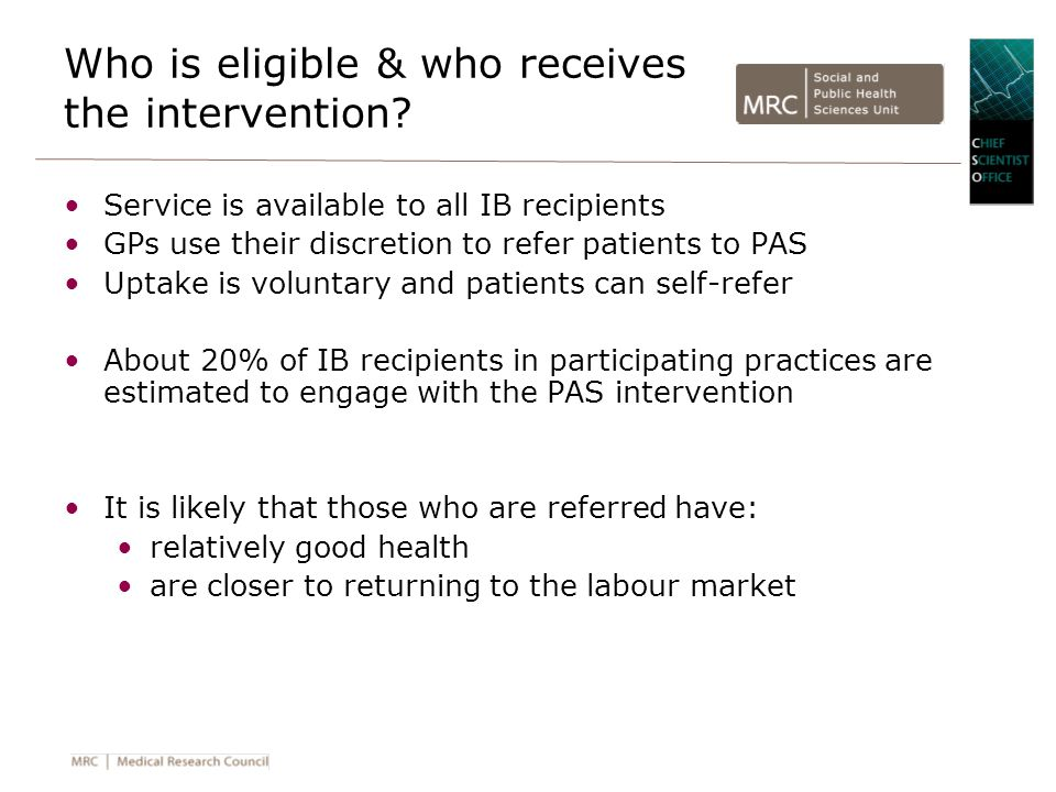 Who is eligible & who receives the intervention.