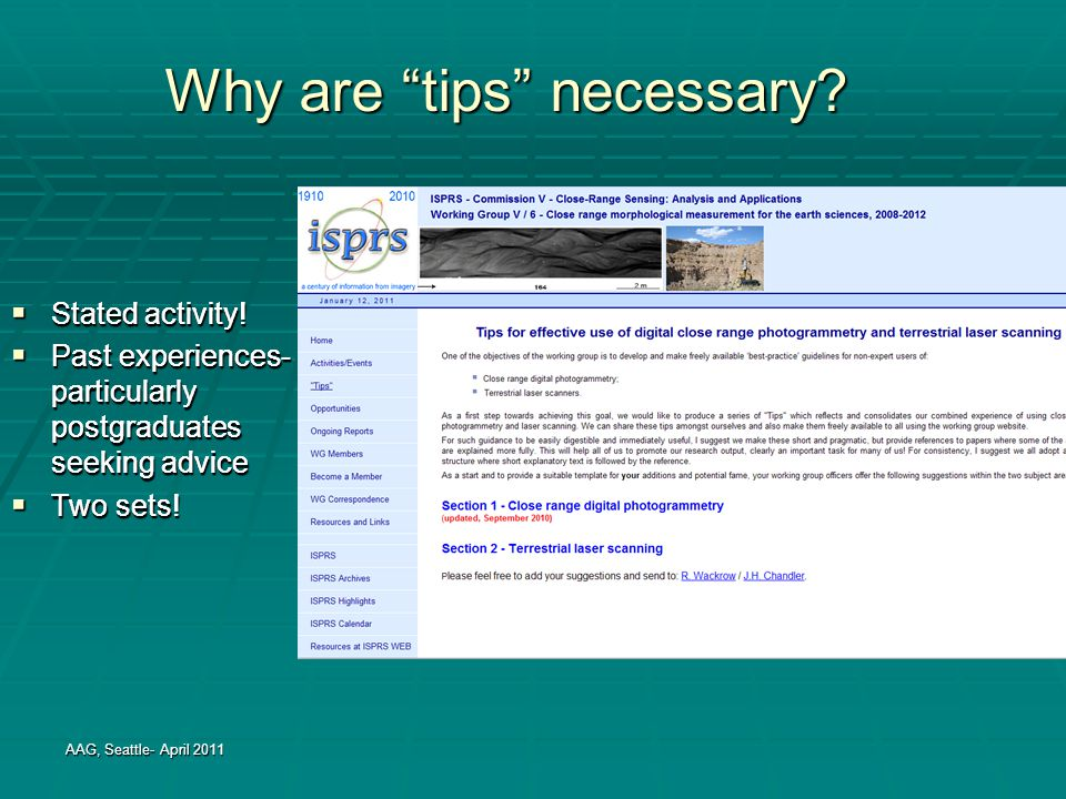 Why are tips necessary.  Stated activity.